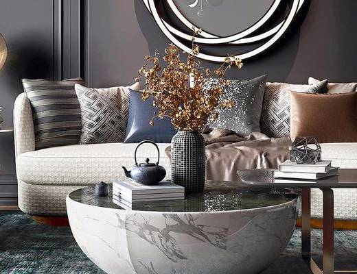 后现代, 多人沙发, 茶几, 盆栽, 单人沙发, 摆件, 书籍