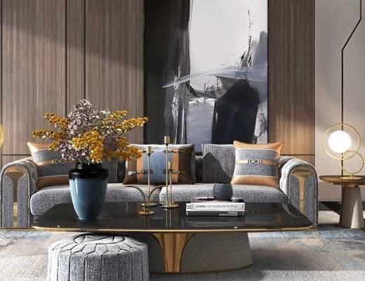 现代, 多人沙发, 沙发凳, 盆栽, 单人沙发, 花瓶花卉, 台灯, 装饰柜, 摆件