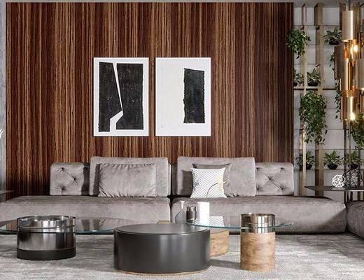 现代, 多人沙发, 茶几, 挂画, 吊灯, 摆件, 边几