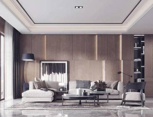 现代, 茶几, 多人沙发, 落地灯, 装饰柜, 装饰画, 摆件, 单人沙发