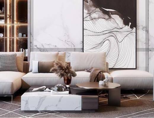 现代, 多人沙发, 单人沙发, 茶几, 装饰画, 摆件, 盆栽, 装饰柜