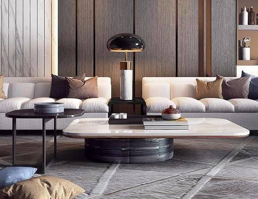 现代, 多人沙发, 单人沙发, 台灯, 摆件, 书籍