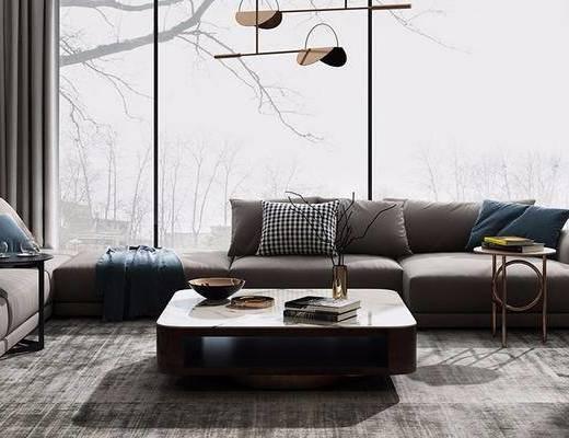現代, 多人沙發, 茶幾, 單人沙發, 擺件, 吊燈, 臺燈, 書籍