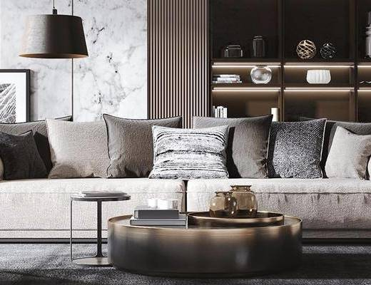 現代, 多人沙發, 茶幾, 落地燈, 裝飾柜, 擺件, 裝飾畫, 單人沙發
