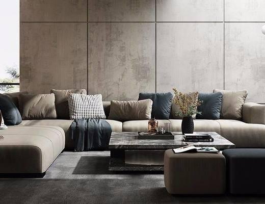 现代, 多人沙发, 茶几沙发凳, 花瓶花卉, 摆件, 落地灯, 台灯