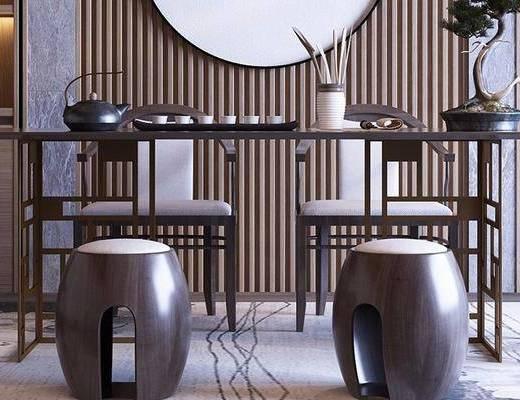 新中式, 凳子, 摆件, 盆栽, 茶具, 茶桌, 单椅