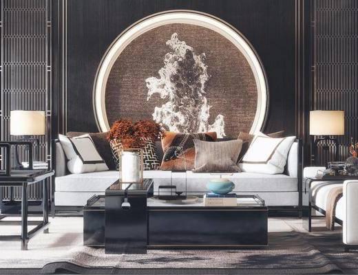 新中式, 多人沙发, 茶几, 台灯, 单人沙发, 边几, 摆件, 盆栽