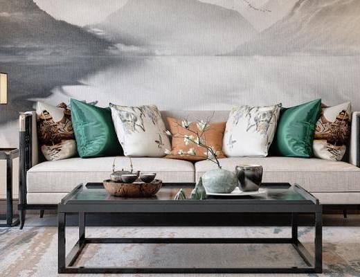 新中式, 茶几, 摆件, 多人沙发, 台灯, 边几, 单人沙发
