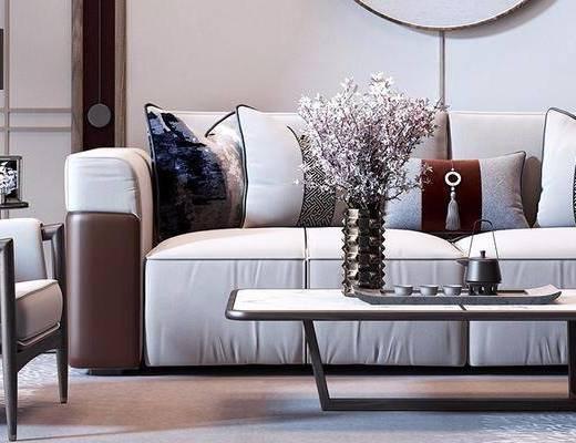 新中式, 多人沙发, 茶几, 花瓶花卉, 单人沙发, 台灯, 摆件