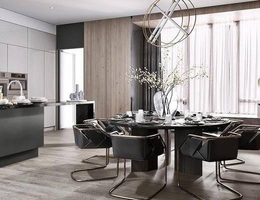 现代餐厅, 轻奢餐厅, 现代吊灯, 餐桌组合, 现代厨房