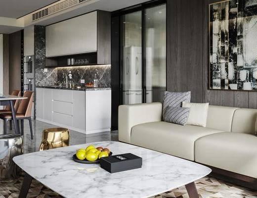 现代客厅, 现代餐厅, 沙发茶几组合, 餐桌椅组合