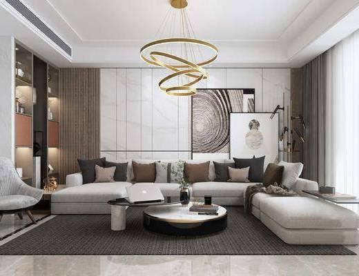 现代客厅, 沙发茶几, L型沙发, 金属吊灯, 置物架, 装饰画