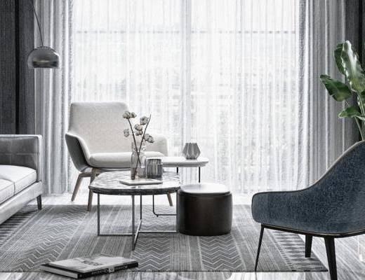 現代客廳, 沙發茶幾組合, 盆栽