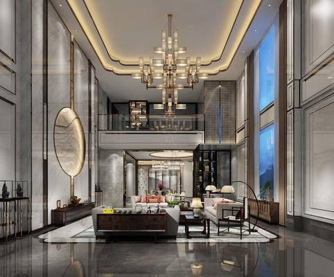 新中式客廳, 別墅客廳, 沙發茶幾組合, 新中式落地燈, 新中式吊燈