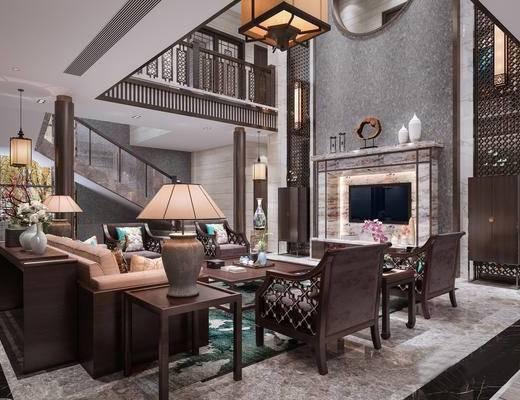 中式客廳, 新中式客廳, 沙發茶幾組合, 紅木沙發, 中式吊燈