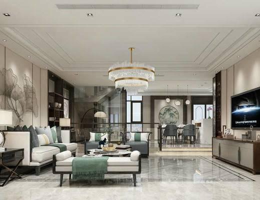 新中式客廳, 新中式餐廳, 沙發茶幾組合, 桌椅組合, 水晶吊燈, 電視柜