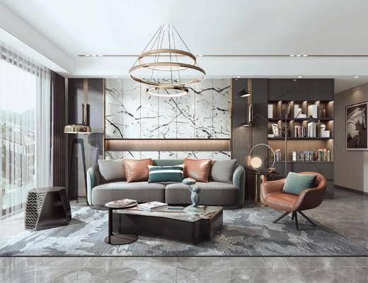 現代客廳, 沙發茶幾組合, 現代吊燈, 置物柜
