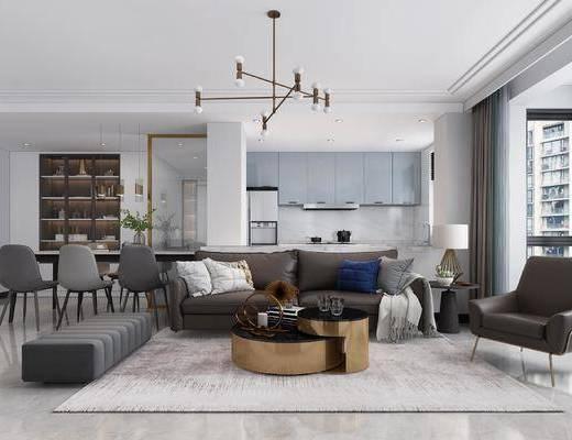 現代客廳, 現代廚房, 現代餐廳, 沙發茶幾組合, 現代吊燈, 餐桌椅組合, 現代置物柜
