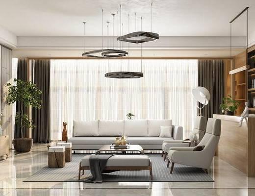 现代, 多人沙发, 单人沙发, 吊灯, 茶几, 电视柜, 盆栽