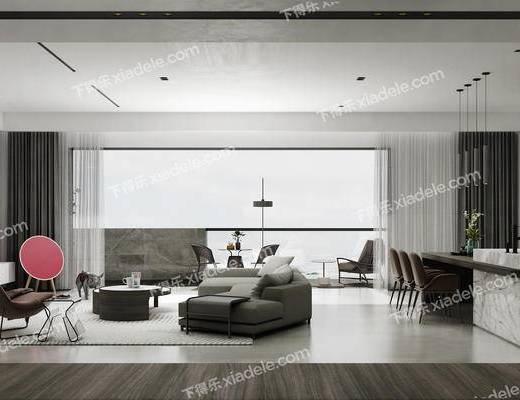现代, 客厅, 多人沙发, 茶几, 单人沙发, 落地灯, 摆件, 电视柜