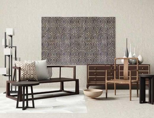 新中式, 边柜, 多人沙发, 落地灯, 单椅, 圆几