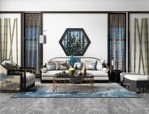 新中式, 多人沙发, 单人沙发, 茶几, 摆件, 落地灯, 花瓶花卉