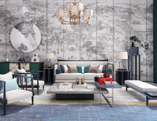 新中式, 多人沙发, 单人沙发, 茶几, 吊灯, 摆件, 台灯, 边柜, 墙饰