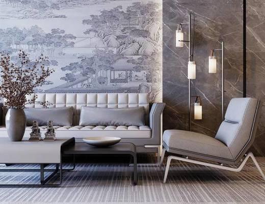 新中式, 多人沙发, 单人沙发, 花瓶花卉, 落地灯, 摆件, 茶几