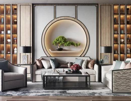 新中式, 多人沙发, 单人沙发, 茶几, 落地灯, 装饰画, 摆件