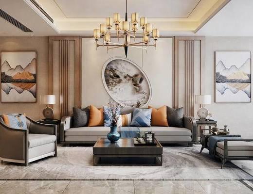 新中式, 多人沙发, 单人沙发, 吊灯, 茶几, 台灯, 边几, 花瓶花卉