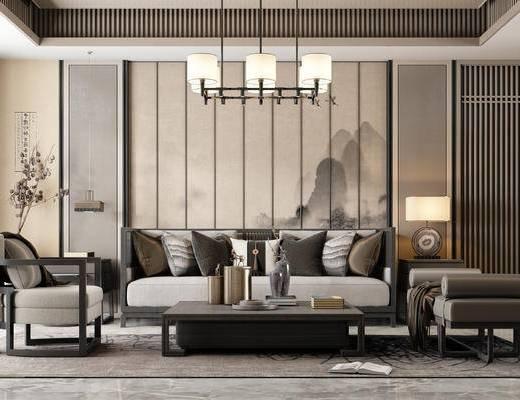 新中式, 多人沙发, 单人沙发, 吊灯, 茶几, 台灯