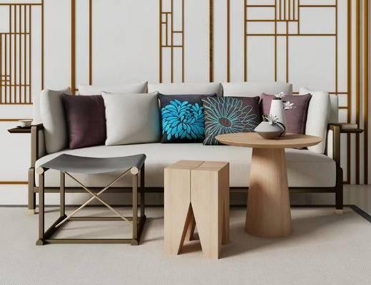 新中式, 多人沙发, 藤椅, 吊灯, 凳子, 圆几