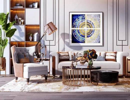 现代, 多人沙发, 挂画, 落地灯, 单人沙发, 盆栽, 茶几, 摆件, 装饰柜