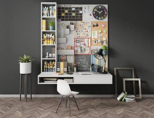 北欧, 书桌, 单椅, 盆栽, 摆件, 书籍