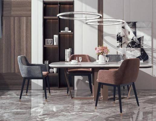 现代, 餐桌, 餐椅, 吊灯, 盆栽, 摆件, 装饰柜