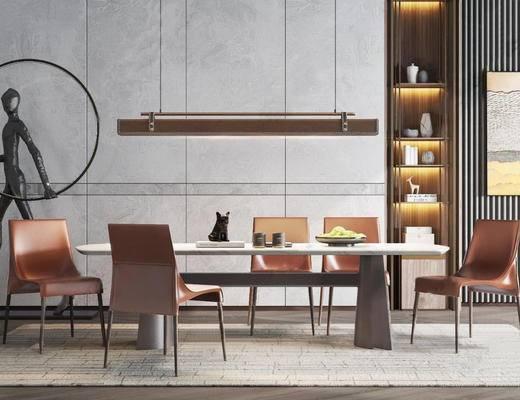 现代, 餐桌, 餐椅, 装饰柜, 吊灯, 摆件, 雕塑