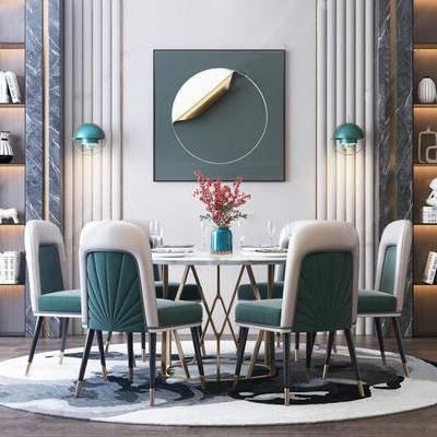 现代, 餐桌, 餐椅, 摆件, 花瓶花卉, 餐具, 装饰柜架