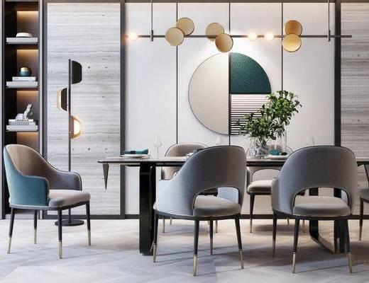 现代, 餐桌, 餐椅, 装饰柜架, 吊灯, 餐具, 落地灯, 摆件