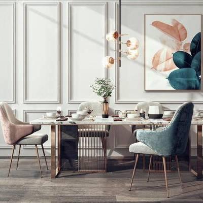现代, 餐桌, 餐椅, 餐具, 装饰画, 摆件