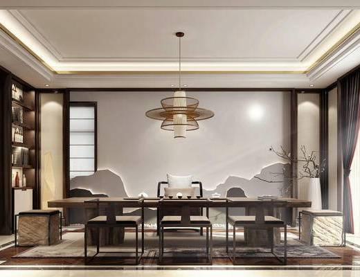 新中式, 茶室, 茶桌, 单椅, 吊灯, 装饰柜架, 摆件