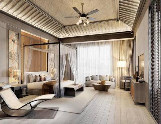 东南亚, 酒店套房, 双人床, 吊灯, 电视柜, 落地灯, 躺椅, 双人沙发, 单人沙发