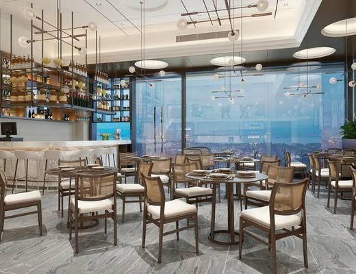 工业风, 餐厅, 单椅, 餐椅, 餐桌, 餐具, 吊灯