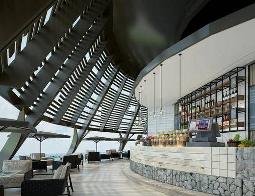 现代咖啡厅, 咖啡厅, 桌椅组合, 吧台, 酒吧, 酒瓶