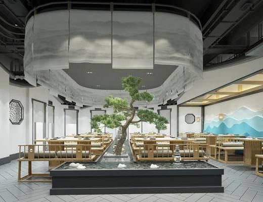 新中式, 餐廳, 餐椅, 餐桌, 餐具, 擺件
