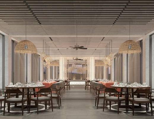 新中式, 餐厅, 桌椅组合