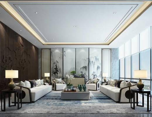 新中式, 会客厅, 沙发组合, 多人沙发
