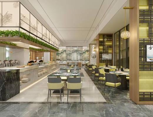 新中式, 餐厅, 走廊过道, 桌椅组合