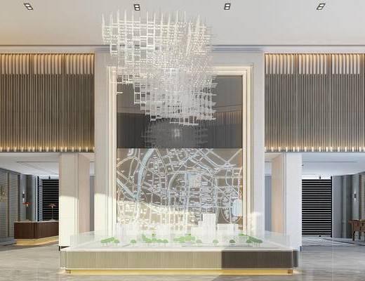 新中式, 售樓處, 吊燈, 端景臺, 模型
