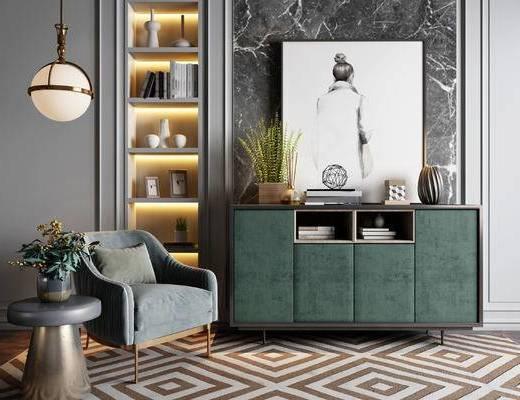 現代, 單人沙發, 掛畫, 邊柜, 圓幾, 盆栽, 裝飾柜架, 擺件, 吊燈