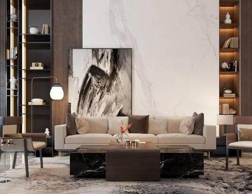 现代, 多人沙发, 单椅, 落地灯, 装饰架, 摆件, 装饰画